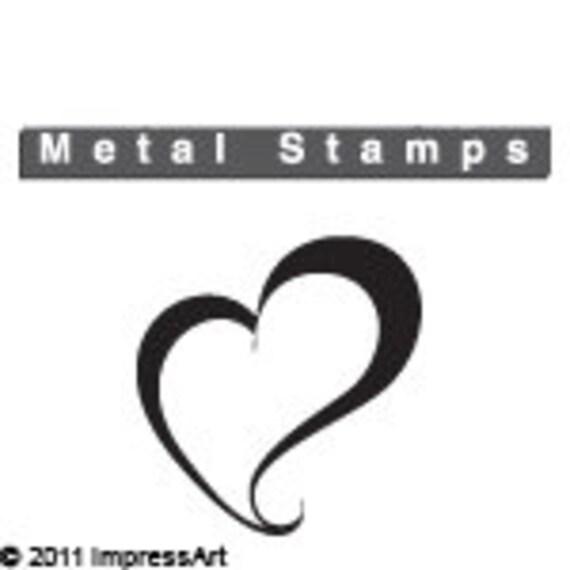 Swirly HEART Metal Design STAMP 6mm 1 4 Jewelry Steel