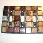 Earth Tone Triple MOSAIC LIGHT SWITCH plate cover