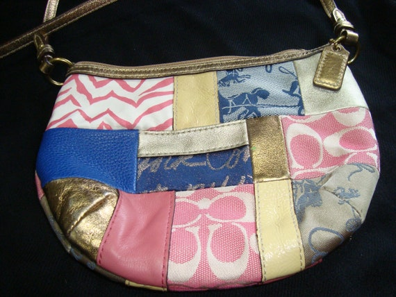 COACH Fabric and Leather Patchwork Cross Body Purs