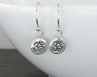 Om Earrings Sterling Silver Earrings yoga jewelry buddha yoga dainty earrings boho earrings tiny earrings ohm