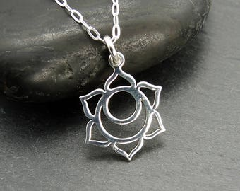 Chakra - Sacral Chakra Necklace, meditation, sterling silver, charms, chakra jewelry, yoga jewelry, boho necklace