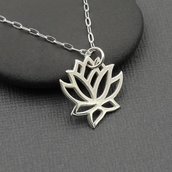 Silver Lotus Necklace Lotus Flower Charm Necklace 925 Etsy