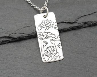 Lotus Flower Necklace 925 Sterling Silver women's jewelry lotus necklace yoga gift