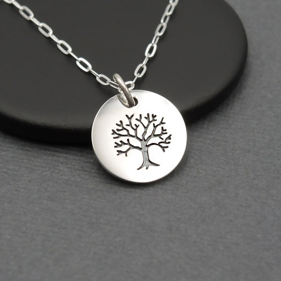 Small Tree of Life Necklace for Women Girls Sterling Silver Tiny Charm Jewelry Gifts for Her