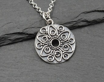 Mandala Necklace Aztec Jewlery zen jewelry mandala jewelry gift for women silver necklace mandala pendant