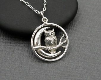 Owl Necklace Sterling Silver Owl Necklace owl jewelry moon necklace nature jewelry gift for mom gift for women