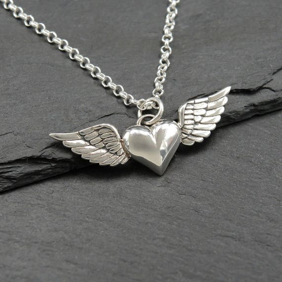 925 Sterling Silver Wing Heart Rose Gold Vermeil Necklace