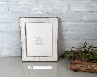 8x10 Picture Frame in Reclaimed Cedar with Vintage White Finish - IN STOCK - Same Day Shipping 8 x 10 Rustic White Frames