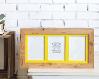 5x7 Triptych Frame for (3) Photos Reclaimed Pine build up with SOLID Inner Color of YOUR CHOICE - Wood Collage Window Frame for 5 x 7 Photos