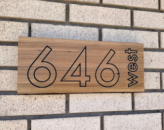 Personalized House Numbers Address Sign - Wall Hanging Reclaimed Wood - Outdoor Handmade Customized Address Numbers - Rustic Modern