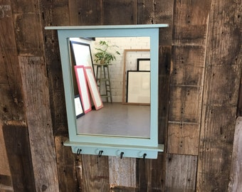 Entryway Mirror with Four Key Holder Hooks - 8x10 Wood Mirror Vintage Homestead Finish - IN STOCK - Same Day Shipping - Small Green Mirror