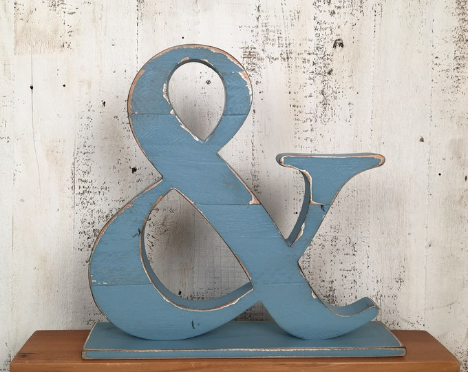 Wooden Ampersand Or Block Letter in Color OF YOUR CHOICE - Reclaimed Wood Initials - Solid Wood School Alphabet Letters - Photo Prop/Display