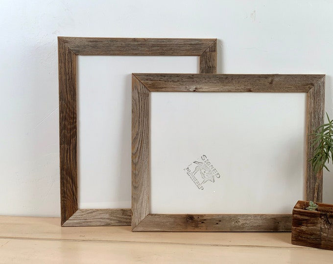 "11x14 inch Picture Frame in 1.5"" Wide Rustic Natural Reclaimed Cedar Wood - Upcycled Wood 11x14 Photo Frame - IN STOCK - Same Day Shipping"