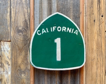 California 1 Wooden Highway Sign - Solid Wood Novelty Sign Pacific Coast Highway - Gallery Wall Hanging - Handmade Signs - Customizable