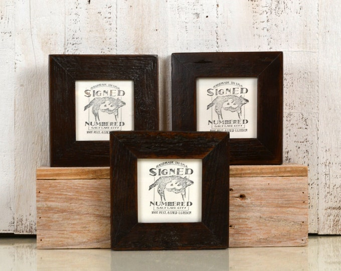 4x4 Reclaimed Wood Picture Frame with Vintage Dark Wood Tone Finish - IN STOCK - Same Day Shipping - 4 x 4 Upcycled Cedar Frame Brown
