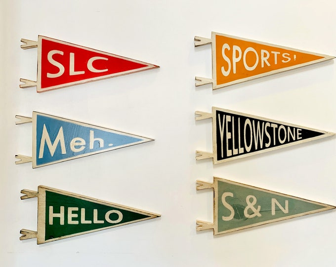 Personalized Wooden Pennant Sign - Wall Hanging Solid Wood - Classic Pennant Flag Design - Handmade Signs Customized