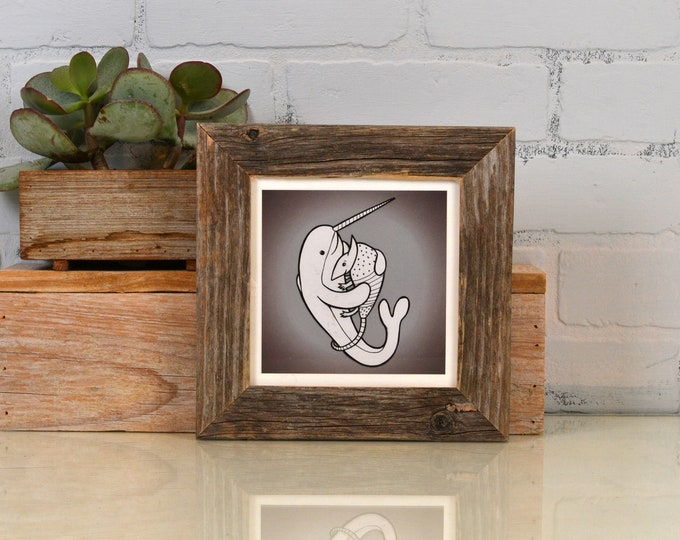 """5x5 Picture Frame in 1.5"""" Wide Rustic Natural Reclaimed Cedar - Upcycled 5 x 5 Reclaimed Wood Photo Frame - 5x5 Square Frames"""