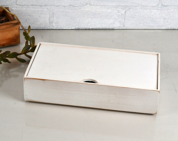 Keepsake Box with Lid Handmade Solid Wood Desktop Box with White Wash Finish - gift, storage, organizer IN STOCK - Same Day Shipping