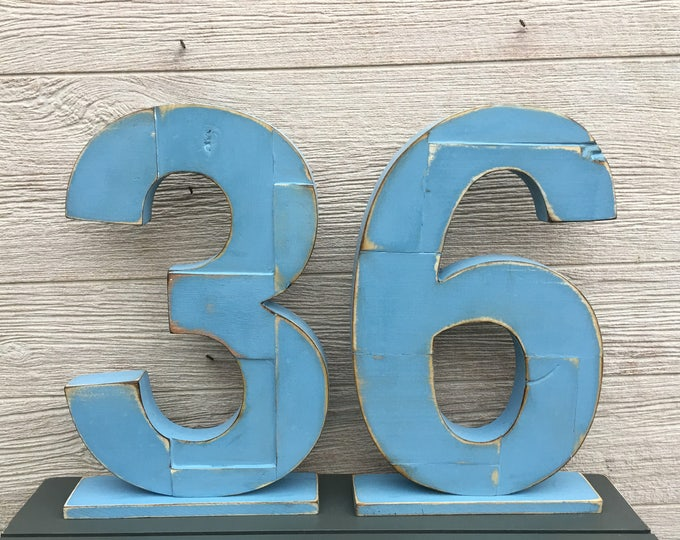 Handmade Reclaimed LARGE Wooden Number Block School Letter in Color of YOUR CHOICE - 18 inches Tall Wood Number - For Table Top or Hanging
