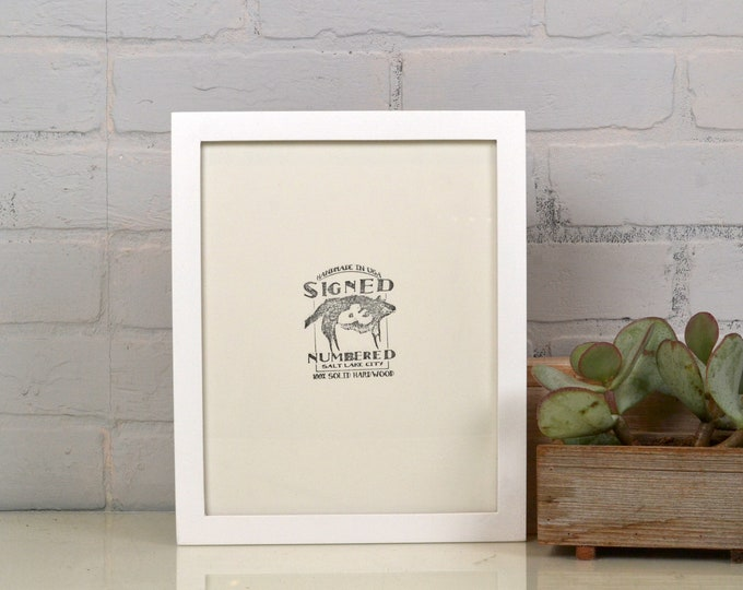 "8.5 x 11"" Picture Frame in Peewee Style with Solid White Finish - Handmade Modern White Document Frame - 8.5x11 Gallery Frame"