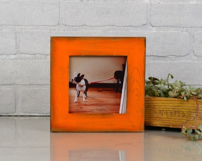 "5x5"" Square Picture Frame in Reclaimed Cedar with Super Vintage Orange Finish - IN STOCK - Same Day Shipping - 5 x 5 Reclaimed Orange"