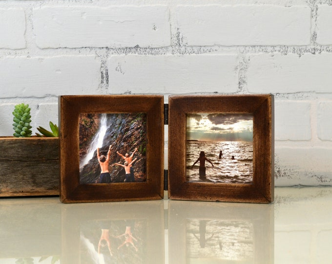 "Two 4x4"" Picture Frames in 1x1 Flat Style Hinged Together Super Vintage Dark Wood Tone Finish - IN STOCK  Same Day Shipping Double Frame 4x4"