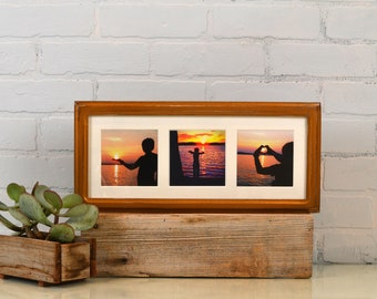 """6x15"""" Picture Frame in Double Cove Style with Mat Window Openings for (3) 4x4 with Vintage Roman Gold Finish - IN STOCK Same Day Shipping"""