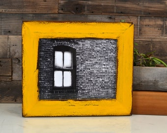 """8x10 Picture Frame in 2.25"""" wide Rustic Reclaimed Redwood with Super Vintage Buttercup Yellow Finish - IN STOCK - Same Day Shipping"""