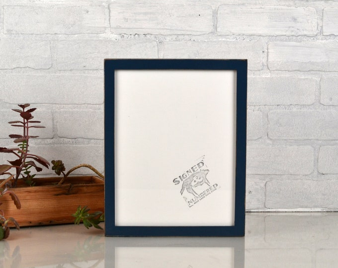 8.5 x 11 Picture Frame in Peewee Style with Vintage Navy Blue Finish - IN STOCK Same Day Shipping - 8.5x11 Modern Picture Frame Gallery Blue