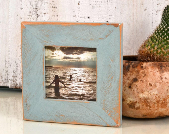 """4x4 Square Picture Frame in 1.5"""" Roughsawn Alder Style with Homesteads Green Finish - IN STOCK - Same Day Shipping Frame Green 4 x 4"""""""