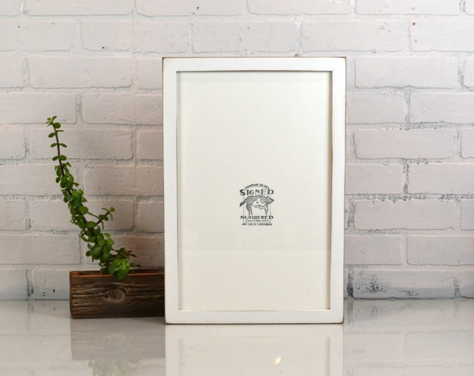 """11x17"""" Picture Frame in 1x1 Flat Style with Vintage White Finish *Includes Plexiglass* - Handmade 11x17 Frame - Wooden Art Frame 11 x 17"""
