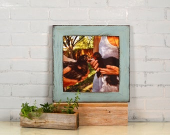 "12x12"" Square Picture Frame in 2.25 inch wide Reclaimed Redwood Style with Vintage Homestead Finish - IN STOCK Same Day Shipping - 12 x 12"