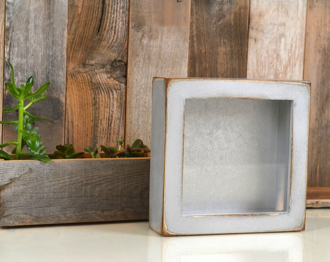 Handmade Small Square Shadow Box Frame in Super Vintage Silver Finish - Holds up to 6 x 6 x 1.5 inches Deep - IN STOCK - Same Day Shipping