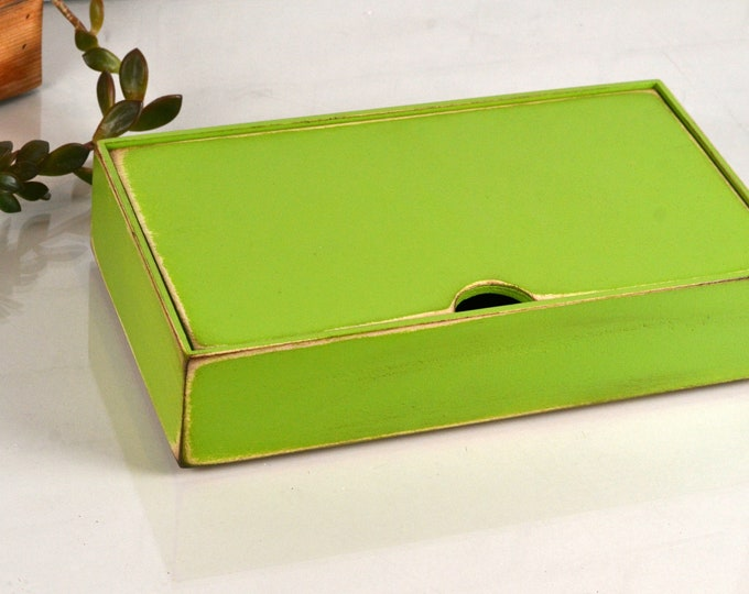 Keepsake Box with Lid Handmade Solid Wood Desktop Box with Vintage Asparagus Finish - gift, storage, organizer IN STOCK - Same Day Shipping