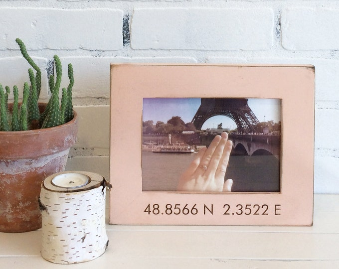 Personalized Coordinates Frame Custom Engraved in Vintage COLOR of YOUR CHOICE - Location Frame - Portrait or Landscape Orientation