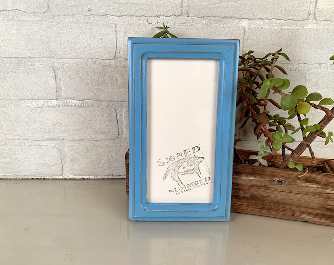 """4x8 Picture Frame for 2x6"""" Photo Booth Strip in 1x1 Double Cove Style with Vintage Blue Finish - IN STOCK - Same Day Shipping Frame"""