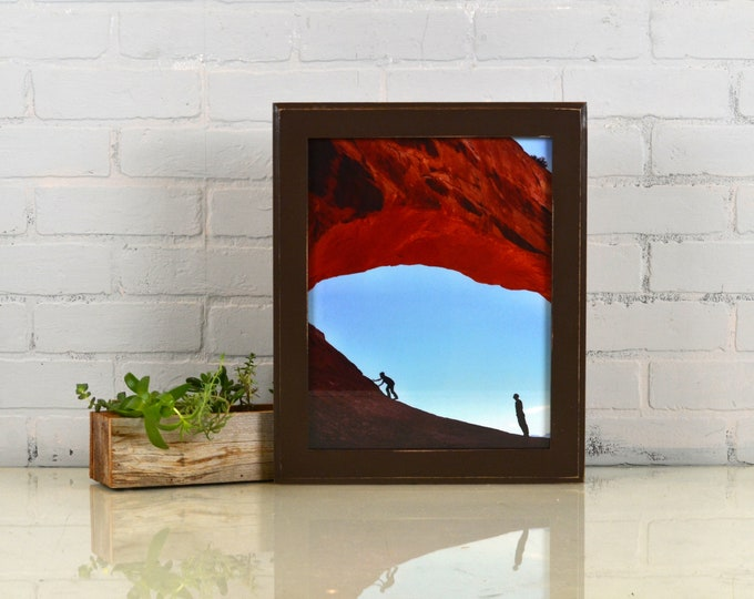 "Handmade 11x14"" Picture Frame in Outside Cove style with Vintage Chocolate Finish - IN STOCK - Same Day Shipping Brown Photo Frame"