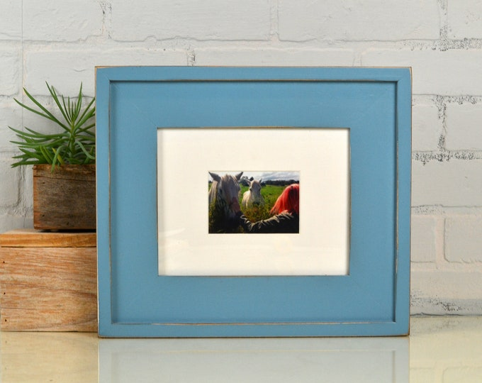 "7 x 9"" Picture Frame in New Cottage Style with Vintage Smokey Finish - IN STOCK - Same Day Shipping - 7x9 inch Frame Blue"