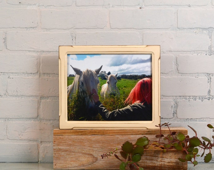 8x10 Picture Frame in Shallow Bones Style with Vintage Ivory Finish - IN STOCK - Same Day Shipping - Rustic Solid Wood Frame 8 x 10