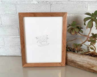 8x10 Picture Frame - SHIPS TODAY - Peewee Style with Natural Cherry Finish - In Stock - 8x10 Photo Frame Solid Hardwood