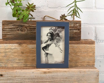 """4x6"""" Picture Frame in PeeWee Style with Vintage Navy Blue Finish - Same Day Shipping - IN STOCK - Gallery Frame 4 x 6 inches"""