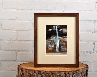 9x11 Picture Frame in Natural Walnut Peewee Style with Mat for 5x7 Print - 5 x 7 or 9 x 11 Photo Frame - IN STOCK - Same Day Shipping