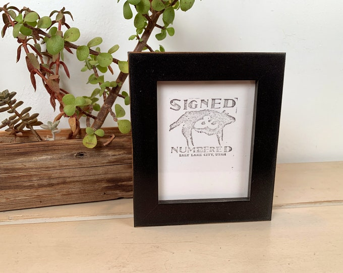 4x5 Picture Frame in 1x1 Flat Style with Vintage Black finish - In Stock - Same Day Shipping - Unique Picture Frame 4 x 5 inches