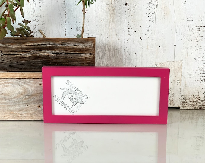 "4x10"" Picture Frame in Peewee Style with Solid Cerise Pink Finish - IN STOCK  Same Day Shipping - 4 x 10 inch Panoramic Photo Frame"