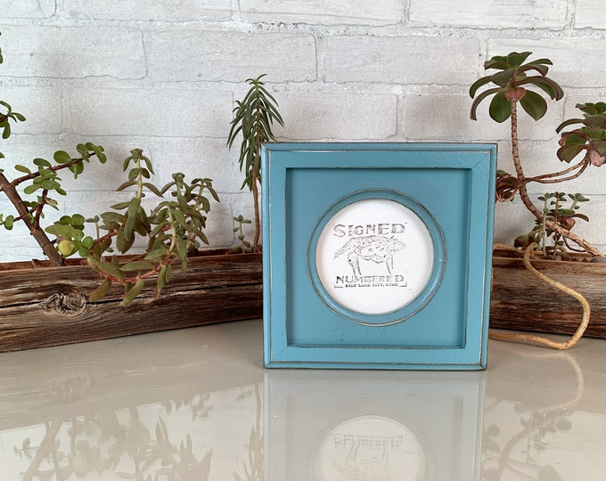 4x4 Circle Opening Picture Frame with Vintage Smokey Blue Finish and Outside Cove Build up Edge - IN STOCK - Same Day Shipping - 4 x 4 Round
