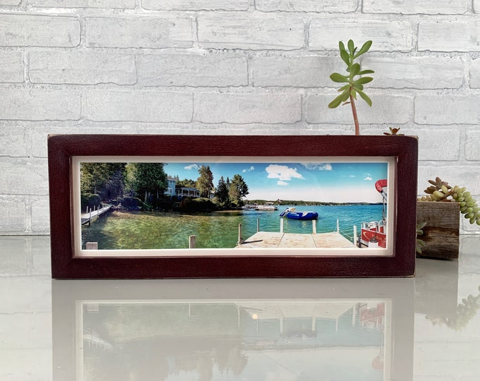 """5x15"""" Picture Frame in 1x1 Flat Style with Vintage Mahogany Finish - IN STOCK - Same Day Shipping - 15 x 5 Panoramic Photo Frame"""