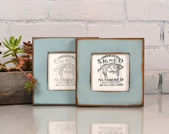 4x4 Reclaimed Wood Picture Frame with Super Vintage Homestead Green Finish - IN STOCK - Same Day Shipping - 4 x 4 Upcycled Cedar Frame Green