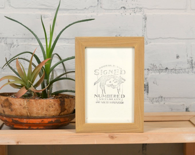"4x6"" Picture Frame in PeeWee Style with Solid Natural Poplar Finish - Same Day Shipping - IN STOCK - Gallery Frame 4 x 6 inches Blonde Wood"