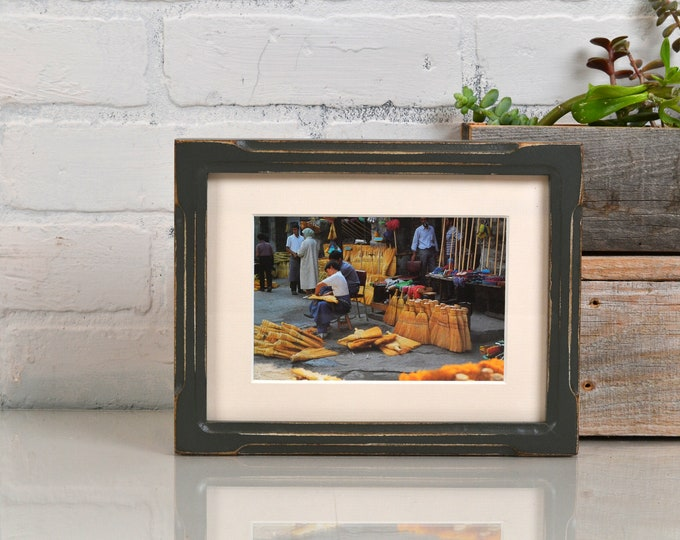 """6x8"""" Picture Frame in Deep Bones Style with Vintage Sable Gray Finish - IN STOCK - Same Day Shipping - 6 x 8 inch Picture Frames"""