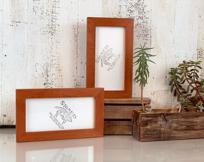 4x8 Picture Frame in 1x1 Flat Style with Solid Wood Tone Finish - IN STOCK - Same Day Shipping - Panoramic Frames 4 x8 inches
